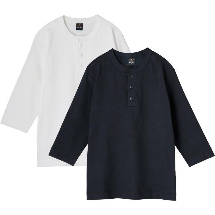 ヘンリーネック7分袖無地Tシャツ