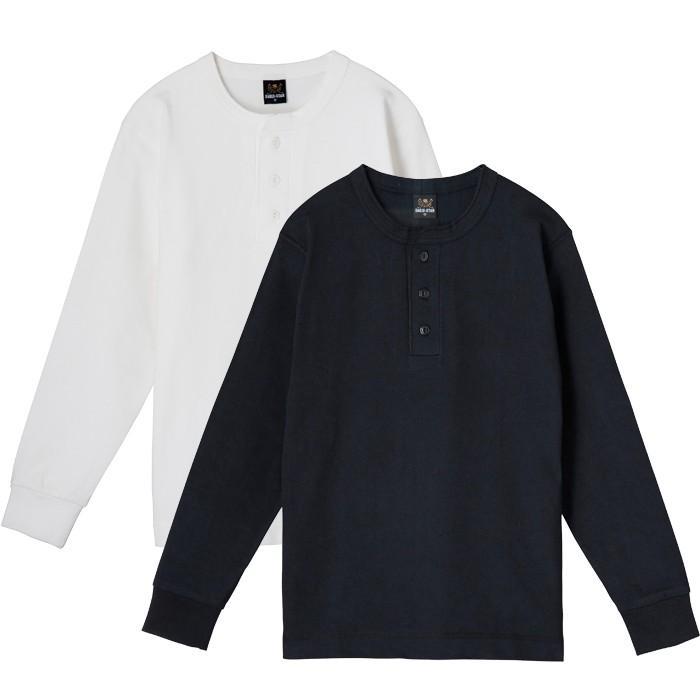 ヘンリーネック長袖無地Tシャツ