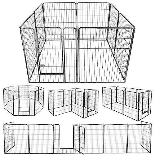 DUDUPET ペットフェンス 定番スタイル 大型犬用 中型犬用 内祝い ペットケージ ペットサークル 四角ポール 折り畳み式 パネル8枚 スチ