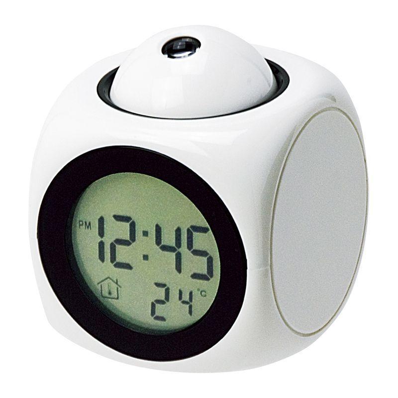限定価格セール 置き時計 トーキングクロック 048043 白 おしゃれ 安値 ライト デジタル プロジェクター 置時計 光る