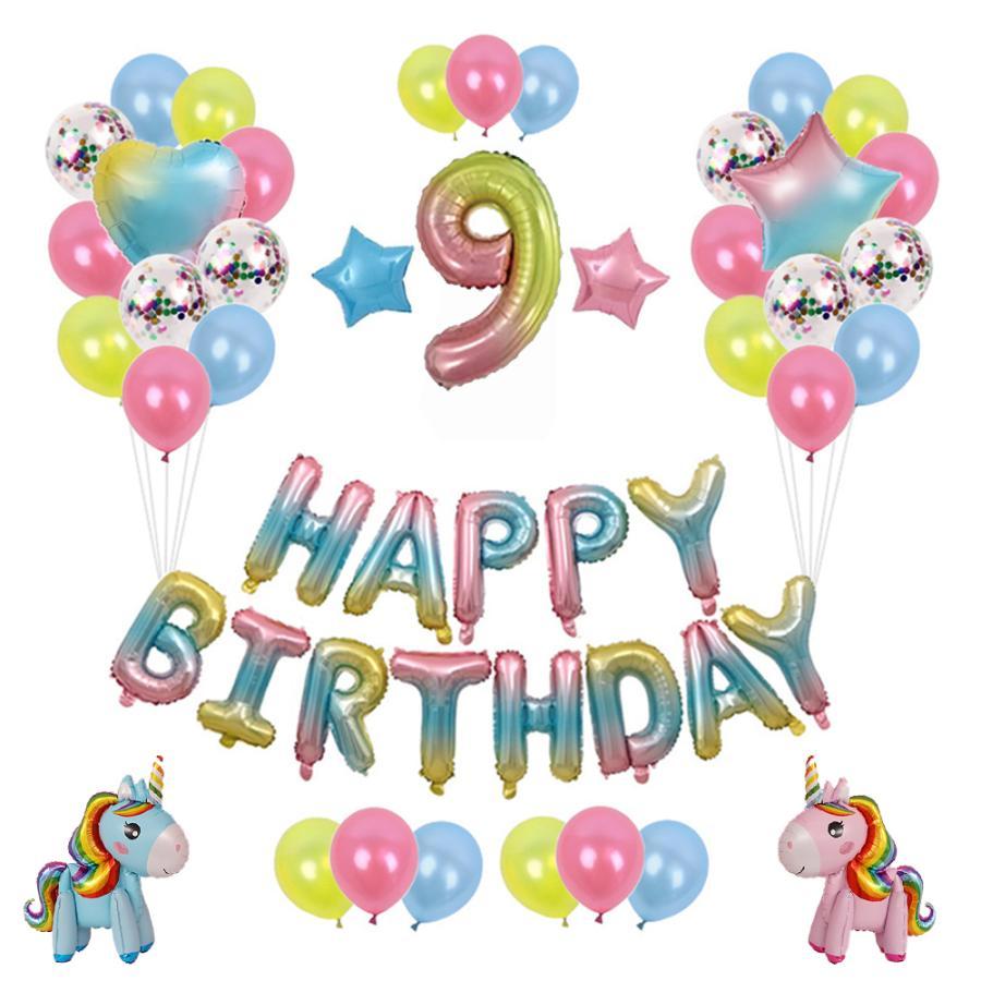 蔵 RAKU 誕生日バルーン 豪華52ピース パーティ装飾 飾りつけセット キラキラ風船 ユニコーンバルーン エアポンプ 女の子と男の子 1-9歳 リボン付き 現金特価