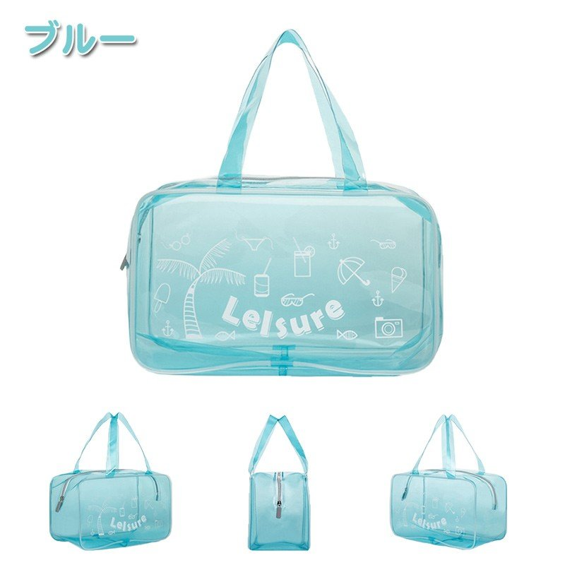 【RAKU】 EVA ビーチバッグ プールバッグ  防水バッグ 大容量 軽量 ジム 温泉 水泳 手提げ型  透明 折り畳み可能 着替え収納 夏祭り ebisu-japan 10