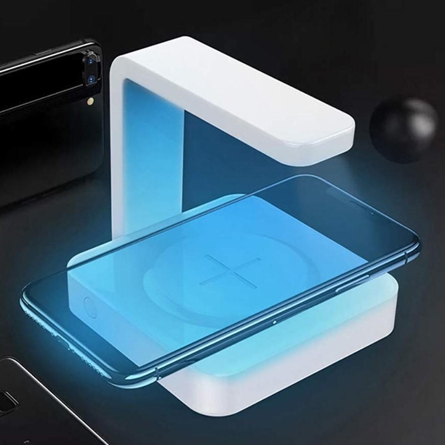 【安心のオリジナル保証】スマートフォン 向け紫外線UV除菌ライト付きワイヤレスチャージャー 充電 UVライト Qi 消毒 有線USB充電も可能|ebisudenki