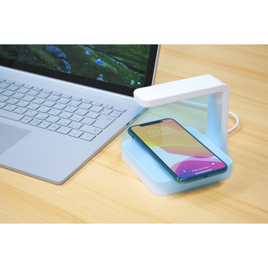 【安心のオリジナル保証】スマートフォン 向け紫外線UV除菌ライト付きワイヤレスチャージャー 充電 UVライト Qi 消毒 有線USB充電も可能|ebisudenki|04
