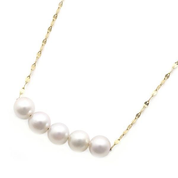 格安販売の アコヤ真珠 ネックレス パールネックレス K18 イエローゴールド 約5mm 約5ミリ珠 5個 あこや真珠 ペンダント シンプル パール 本真珠, 美陽堂 BIYOUDO 8d50d3c9