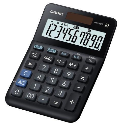 CASIO MW-100TC-BK-N 40%OFFの激安セール ブラック W税率電卓 10桁 ついに再販開始 ミニジャストタイプ