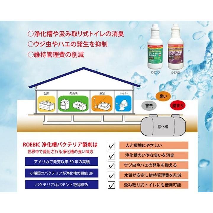 ROEBIC K-37JD 946ml|浄化槽用(合併浄化槽・単独浄化槽)保守メンテナンスバクテリア製剤 浄化槽の消臭 臭い消し 汲取りトイレも可|ececo|02