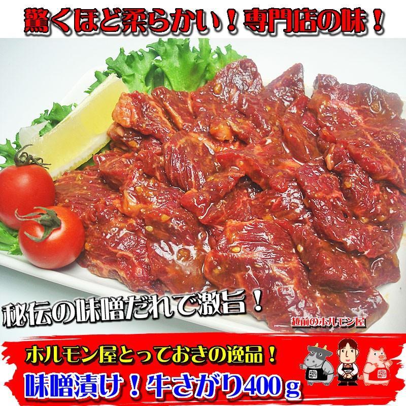 専門店の味 秘伝の噌漬け牛さがり400g 焼肉 バーベキュー アウトドアー|echizennohorumonya