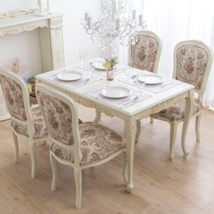 ダイニングテーブルセット アンティーク 木製 ホワイト 120