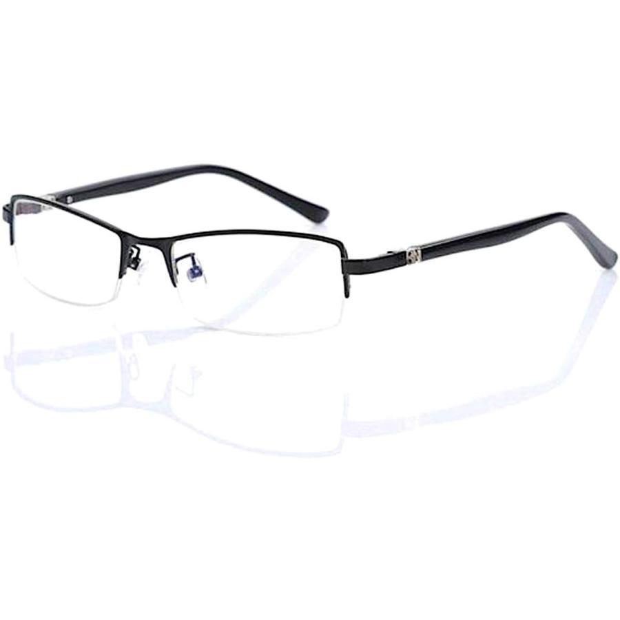 超軽量21g 伊達メガネ PCメガネ ブルーライトカット UVカット メンズ かっこいい おしゃれ ハーフリム メガネケース 眼鏡拭き 付|ecloset-store|21