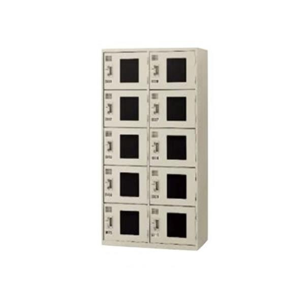 コインロッカー コインリターン式 10室アクリル窓付 幅900×奥行き455mm KR-2510AN