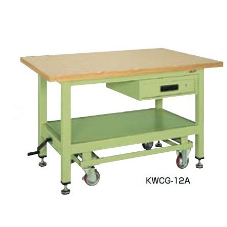 サカエ KWC 超重量作業台 ハンドル昇降移動式 均等耐荷重:1200kg KWCS-12A KWCS-12A