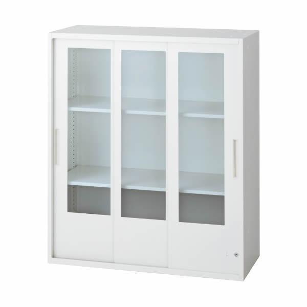 L6 3枚ガラス引違い保管庫 幅800×奥行400×高さ890mm 上置き 可動式棚板2枚 乳白色 (648-403) L6-G90SG