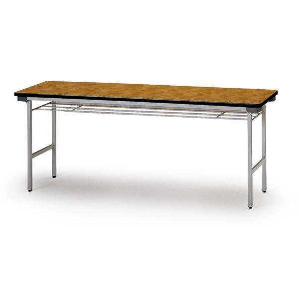 折り畳みテーブル(棚付) スチール脚 幅1800mm×奥行600mm×高さ700mm TF-1860