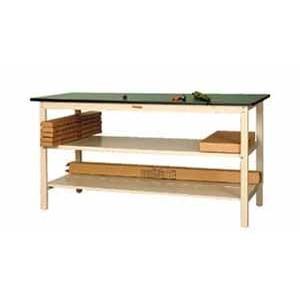 ワークテーブル 300シリーズ 全面中間棚付高さ900mm ポリエステル天板 幅1200×奥行き750×高さ9… YAMA-SWPH-1275-TTF