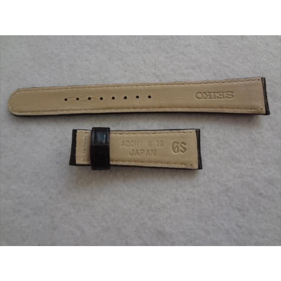 SEIKO 純正 バンド 19mm グランドセイコー SBGE027 SBGE227 クロコダイル 本革 腕時計 レザーベルト 黒 ブラック ecwide 02