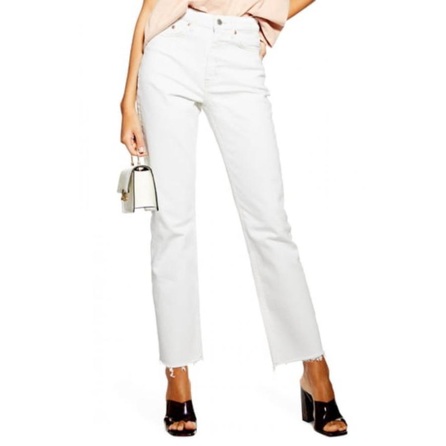 『1年保証』 トップショップ TOPSHOP レディース ジーンズ・デニム ボトムス・パンツ Straight Leg Raw Hem Jeans White, 大特価 230377c1