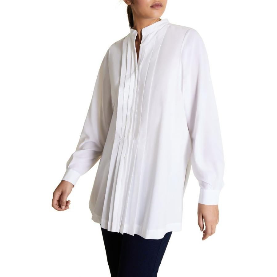 【予約】 マリナ White リナルディ MARINA MARINA RINALDI レディース マリナ ブラウス・シャツ トップス Fauve Pleated Shirt White, Bid Land:3f6a682f --- chizeng.com