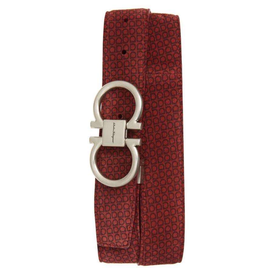 【大注目】 サルヴァトーレ Print フェラガモ SALVATORE FERRAGAMO メンズ ベルト Gancini Logo ベルト Print Gancini Suede Belt Red, ホベツチョウ:7f844931 --- grafis.com.tr