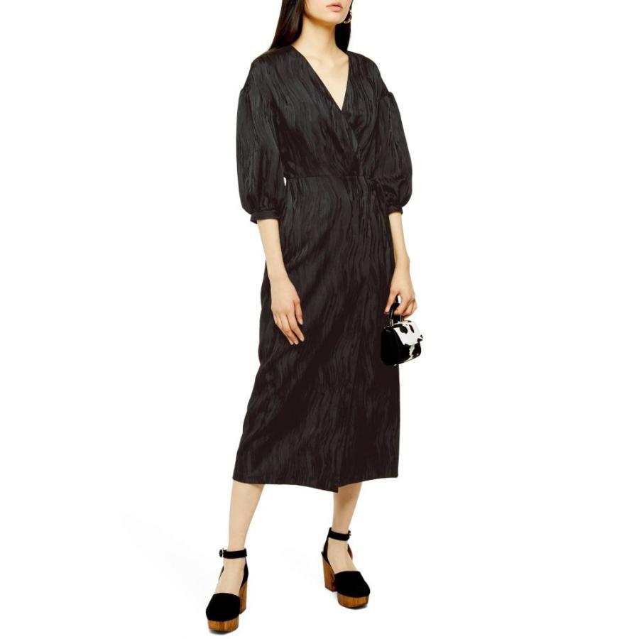 トップショップ TOPSHOP レディース ワンピース ミドル丈 ワンピース・ドレス Jacquard Midi Dress 黒
