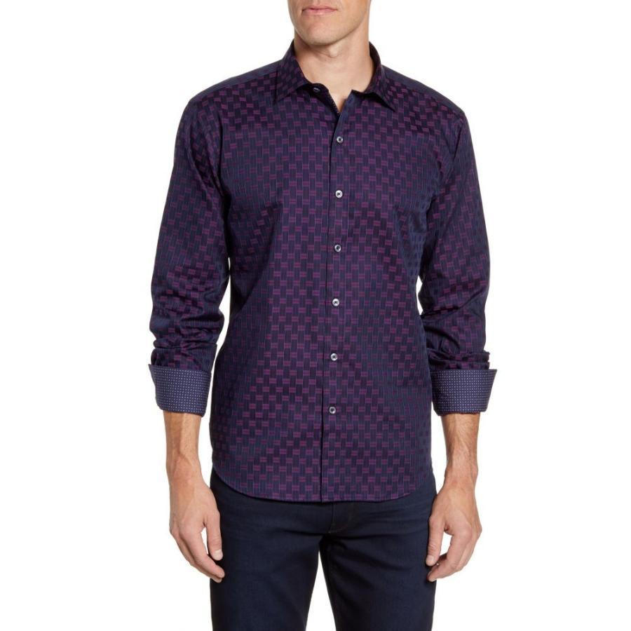 納得できる割引 ブガッチ BUGATCHI メンズ Plum シャツ トップス Shaped Fit メンズ Print Geo Print Button-Up Sport Shirt Plum, 中川根町:e6dbf57d --- sonpurmela.online