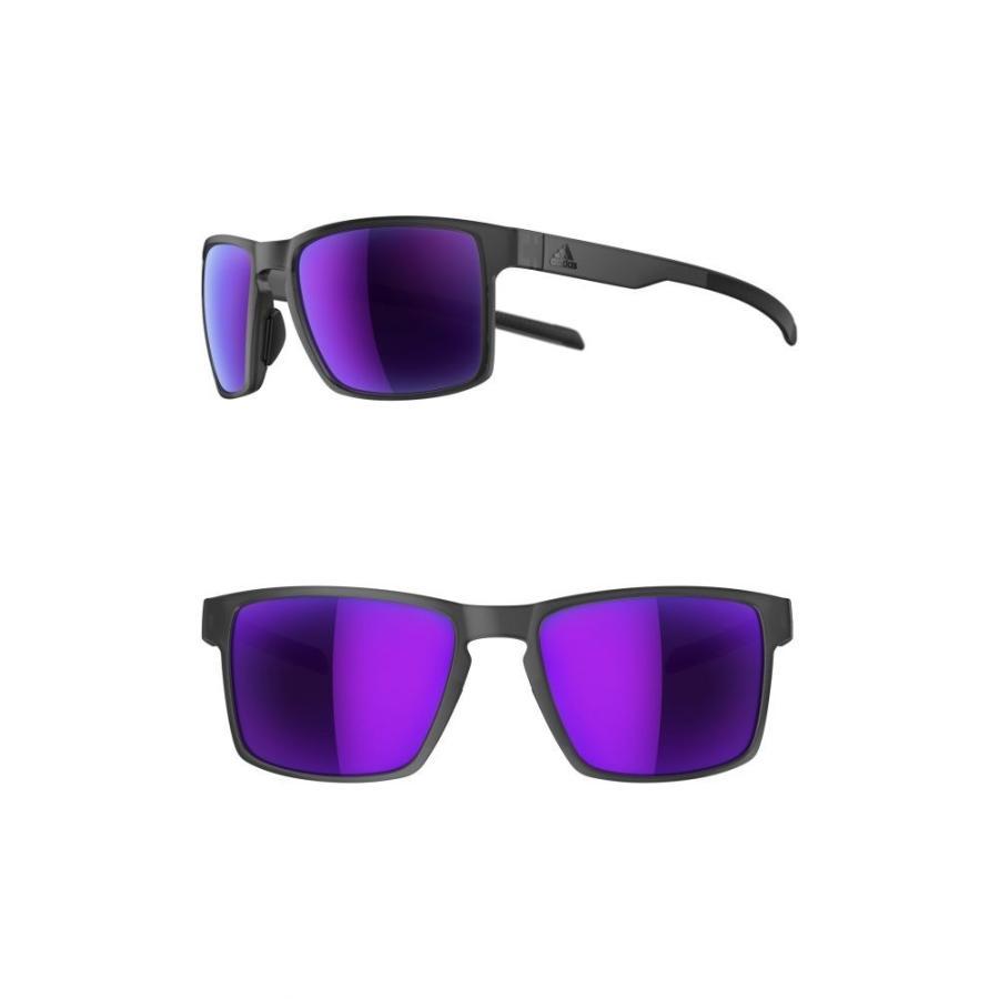 アディダス ADIDAS レディース スポーツサングラス Wayfinder 56mm Mirro赤 Sport Sunglasses Matte Coal/ Viola