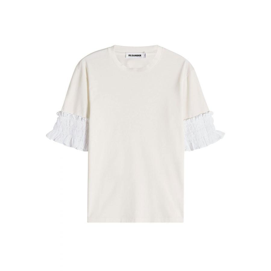 ジル サンダー Jil Sander レディース Tシャツ トップス TShirt with Ruffled Sleeves 白い