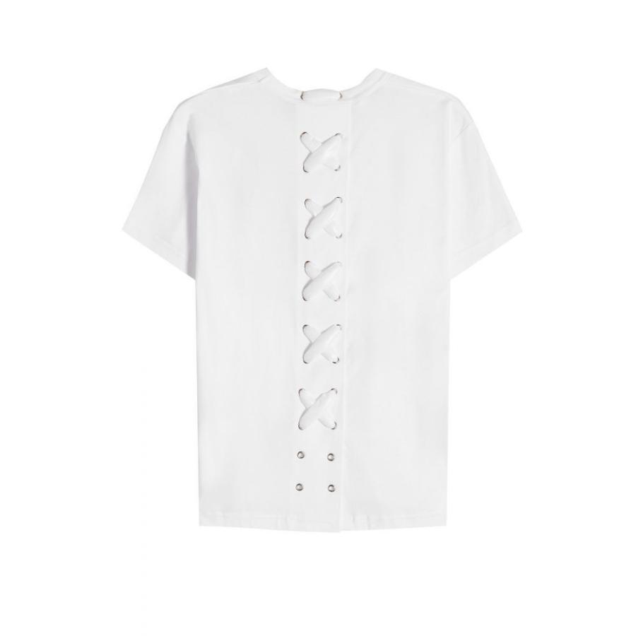 配送員設置 モンクレール Moncler Genius レディース Tシャツ トップス 6 Moncler Noir Kei Ninomiya Cotton TShirt with LaceUp Back white, イズクラブ 8931bff8