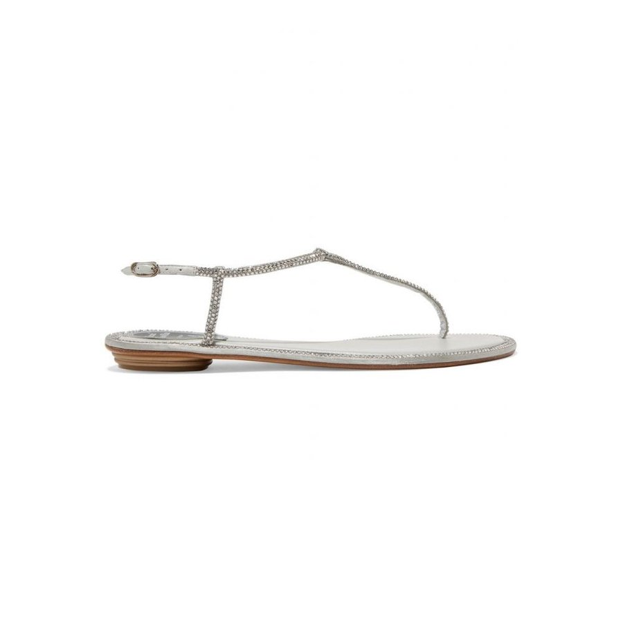 レネ カオヴィラ Rene Caovilla レディース サンダル・ミュール シューズ・靴 Diana crystal-embellished metallic leather sandals