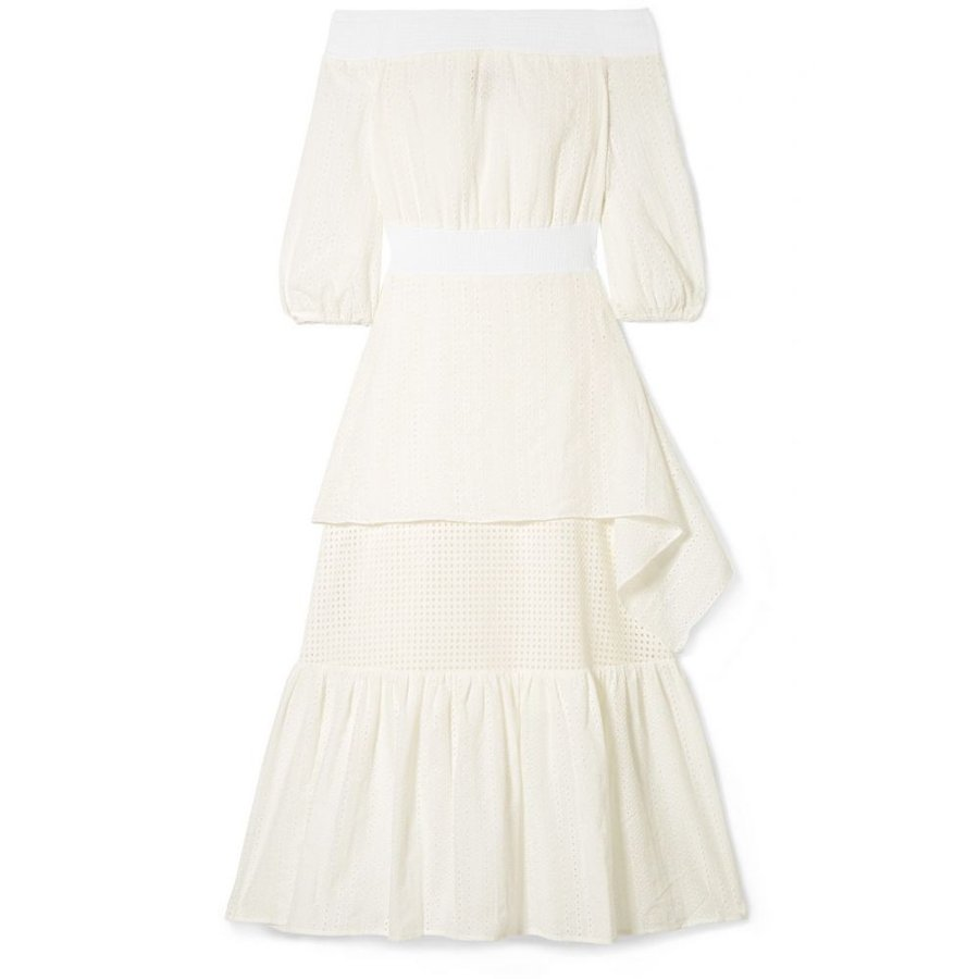 ゼウスアンドディオーネ Zeus+Dione レディース ビーチウェア 水着・ビーチウェア Selene off-the-shoulder broderie anglaise cotton midi dress