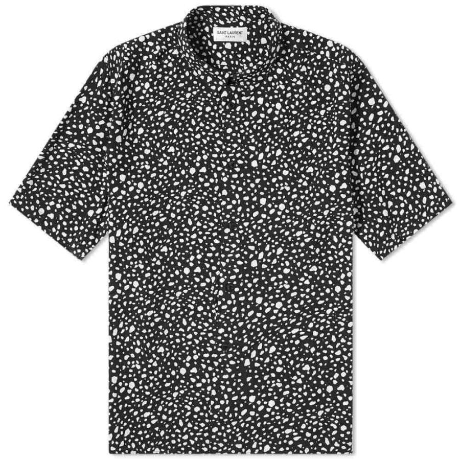 超歓迎 イヴ サンローラン Saint Laurent メンズ 半袖シャツ トップス トップス Printed Pebble Printed Shirt Short Sleeve Shirt Black/White, オムツケーキの店 ベビーアルテ:1c43a940 --- grafis.com.tr