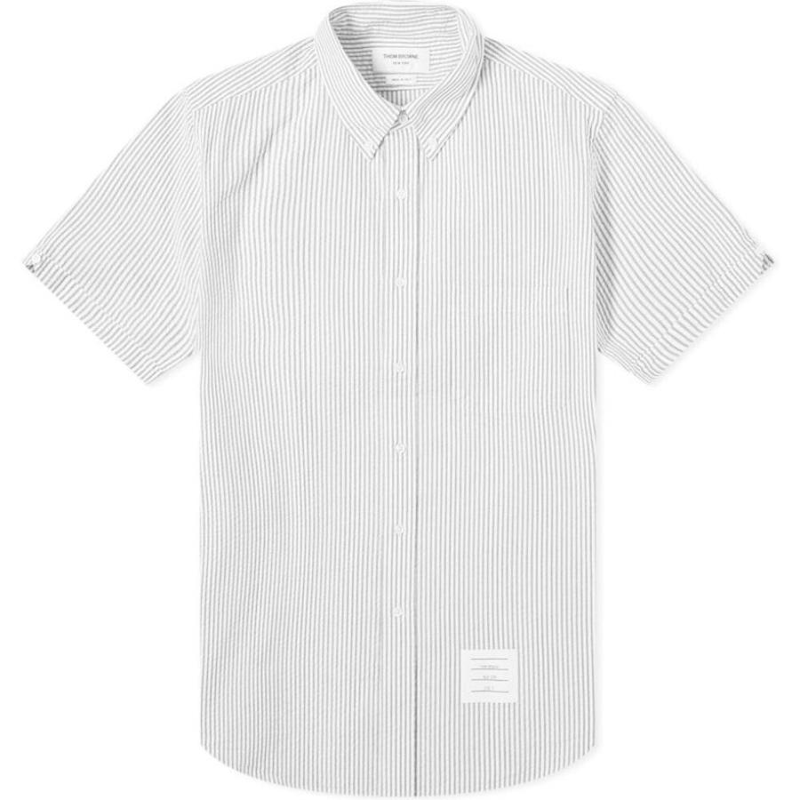 上品な トム ブラウン Thom Seersucker Browne Thom メンズ 半袖シャツ Grey トップス Button Down Seersucker Short Sleeve Shirt Medium Grey, worldtime26:e6c6e87a --- grafis.com.tr