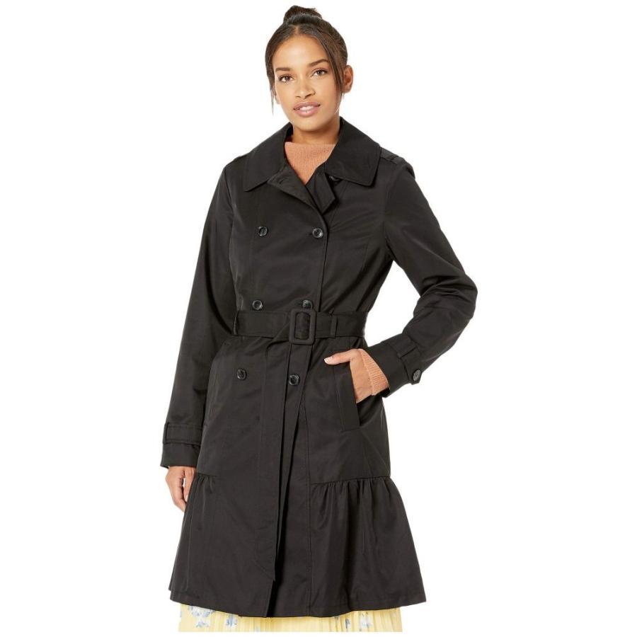 【ギフ_包装】 ケイト スペード Kate Spade New York レディース トレンチコート アウター Cotton Blend Trench Coat with Waist Tie Black, でん六 3689a3ed