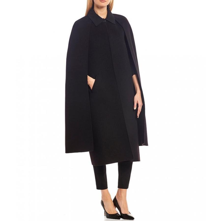 キャサリンケリー Katherine Kelly レディース ポンチョ アウター fox fur collar long cape Black