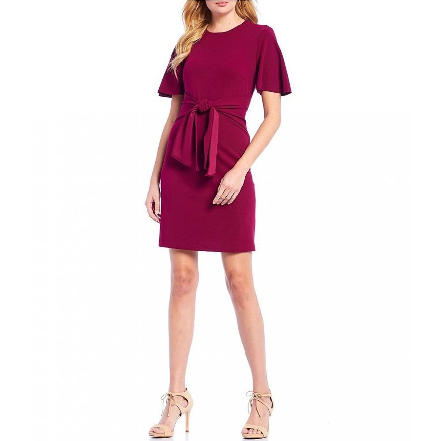 ドナ モルガン Donna Morgan レディース ワンピース ワンピース・ドレス Tie Waist Flutter Sleeve Stretch Crepe A-Line Dress Mulberry
