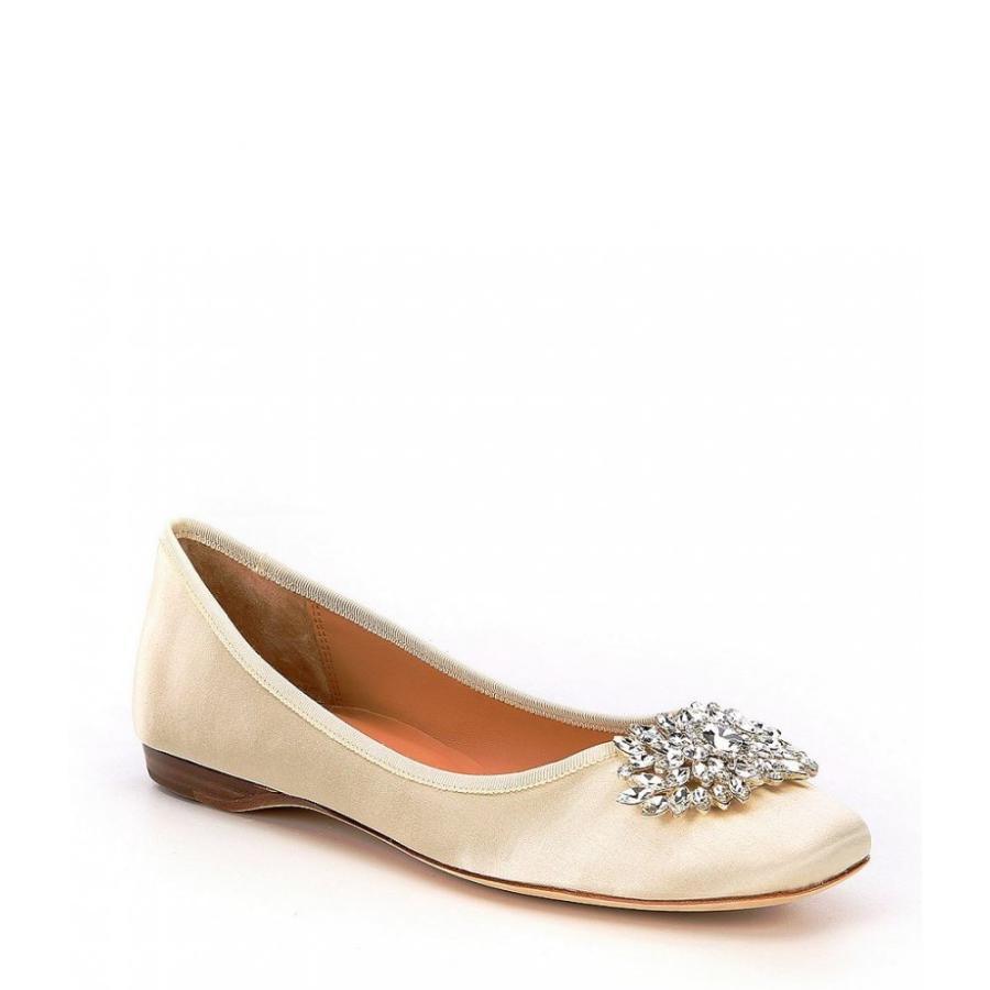 バッジェリー ミシュカ Badgley Mischka レディース スリッポン・フラット シューズ・靴 Pippa Jeweled Satin Dress Flats Ivory