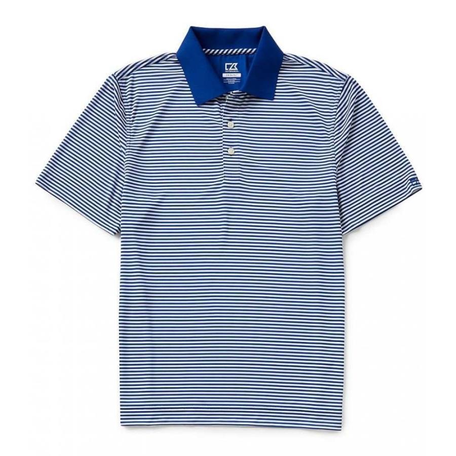 カッター&バック Cutter & Buck メンズ トップス ゴルフ Golf Drytec Trevor Horizontal Stripe Polo Shirt Tour 青/白い