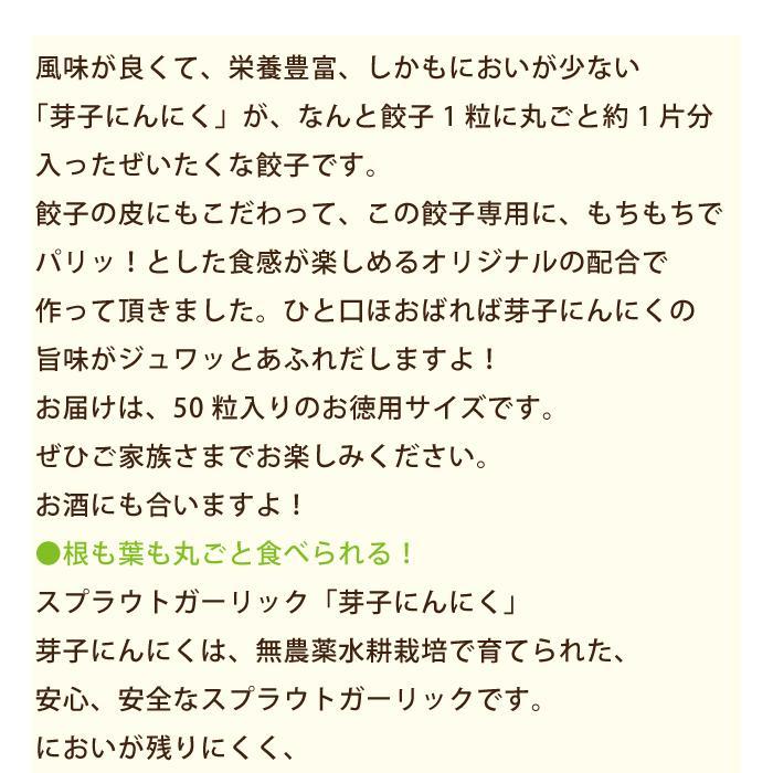芽子にんにく餃子 1袋(50粒入り)*|egao-ichiba|05