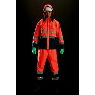 雨衣 M8920高視認性雨衣 上下 蛍光オレンジ Sサイズ