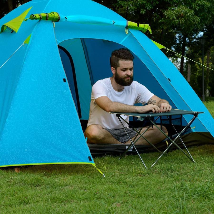 iBasingo ポータブルアルミポールテント、屋外の防風と防水PU2000mmキャンプテント 2人 ブルー・シー・ブルー
