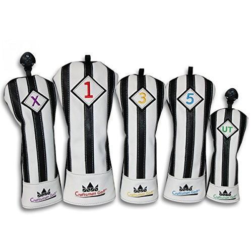 CRAFTSMAN(クラフトマン)ユベントスファン向け イタリア風 ゴルフヘッドカバー 合成レザー製 たて縞黒白 バージョンアップ (たて縞