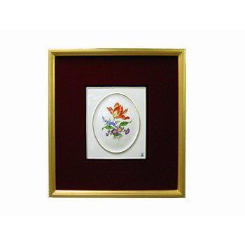 マイセン・金箔額装磁板画  三つ花・060110 チューリップ