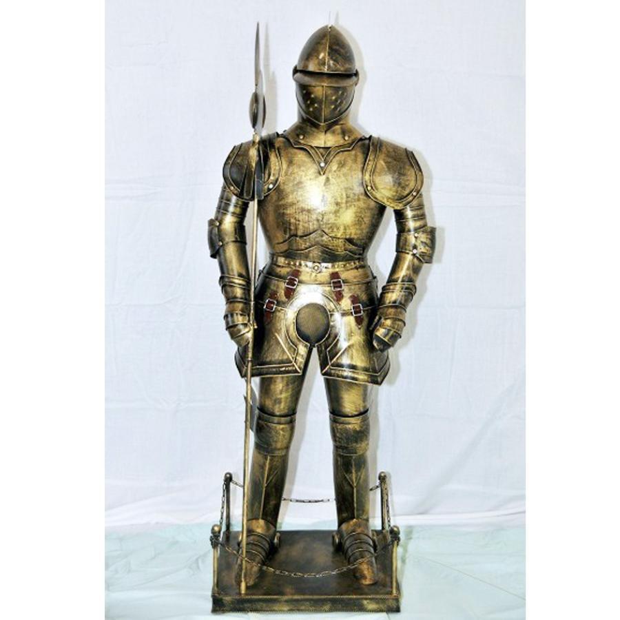 西洋甲冑人形 約幅35CMX奥行32CMX高さ110CM ゴールド (西洋 甲冑 鎧 兜 ...