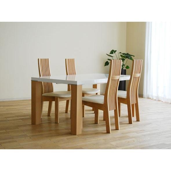 UV塗装テーブル W1404×D904×H701 DT531-140RW/RB+椅子CBL5310RB/WH×4脚 大川製
