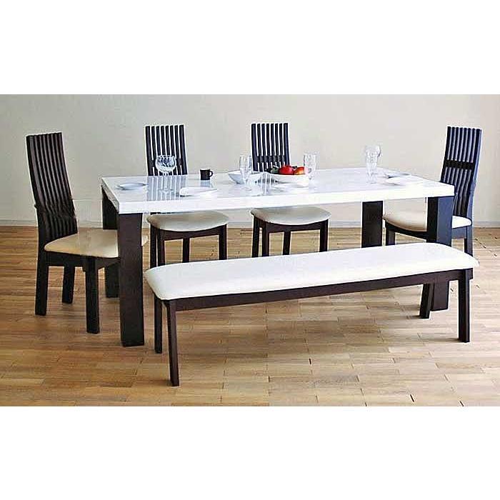 UV塗装テーブル W1804×D904×H701 DT531-180RW/UG+椅子CBL5310UG/WH×3脚+CBL531UG/WH145ベンチ 大川製