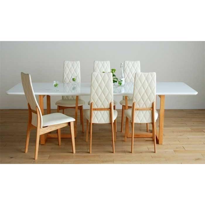 UV塗装DT540RW/OC240テーブル+CF540H椅子OC/WH×8脚 テーブル天板.脚・椅子木部.張生地色対応 受注生産 家具産地大川製
