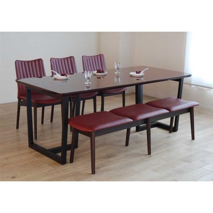 UV塗装 DT540SR/BL190テーブル+ミラージュUG/DR×3脚+CF540ベンチ147UG/DR テーブル天板.脚・椅子木部.張生地色対応 受注生産 家具産地大川製