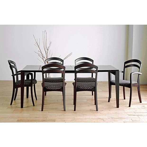 シャム Dテーブル200HB/UG+肘付椅子6脚 W2010×D860×H700 GUV塗装ヒッコリーブラック 張生地ラムース 受注生産Siamese