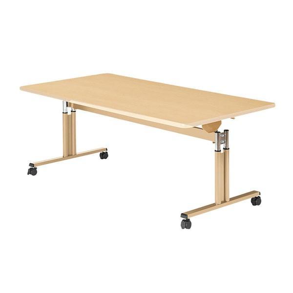 (代引き不可) 昇降フラップテーブル UFT-TT1890-M メープル 幅180cm 介援隊 (キャスター付 (キャスター付 高さ調節 施設) 介護用品