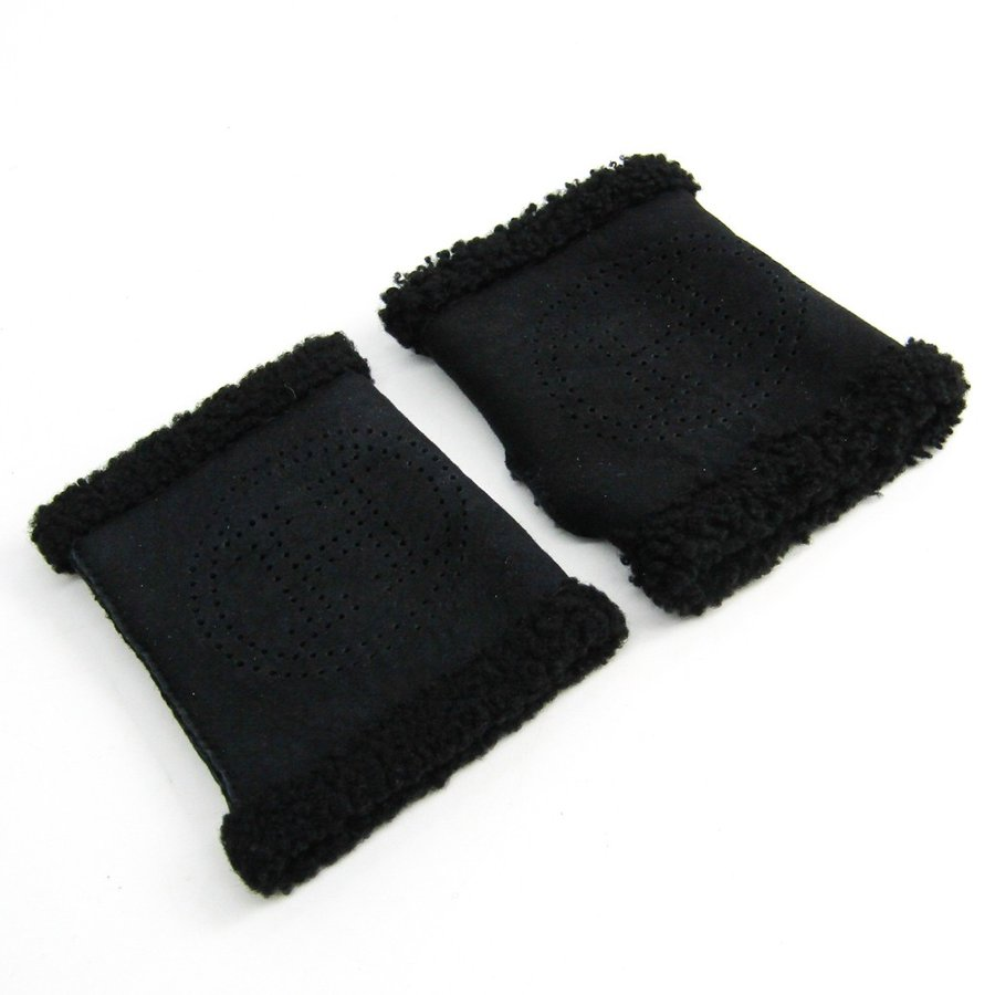 エルメス レディース フィンガーレス 手袋 ブラック レザー Hロゴ 7